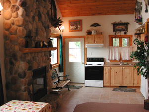 Buffalo County Resort Kitchen and Fireplace